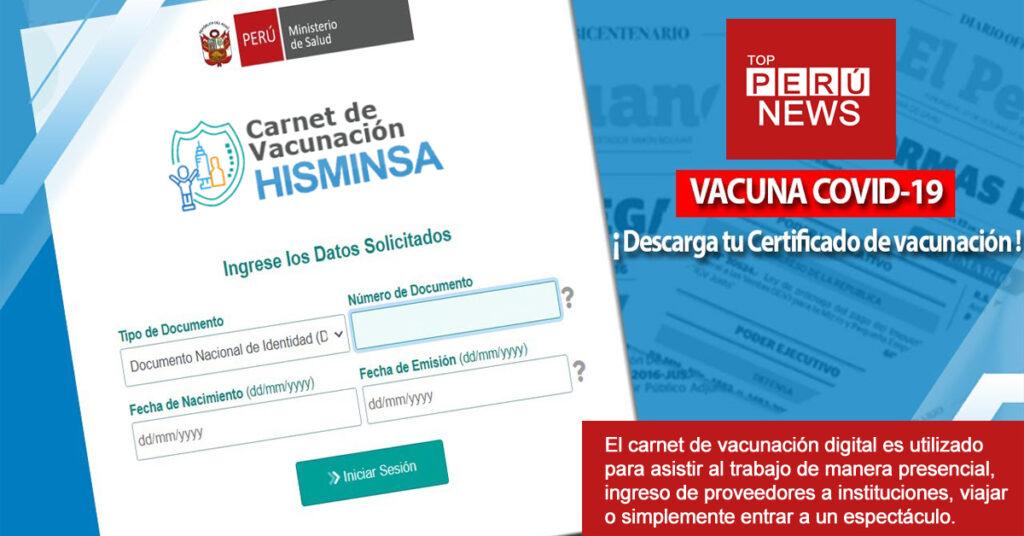Link certificado de vacunación covid 19